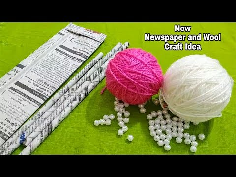 Superb Craft Idea Out Of Waste Newspaper and Wool | Perfect Reuse Of Waste
