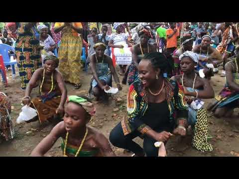Vera Addo dancing Ewe Bobobo Dance with School Children at Kokoase in Wassa East District