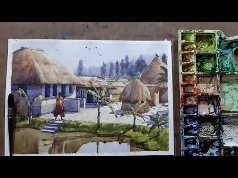 easy landscape painting for beginners | watercolor kaise karte hain | how to paint a village scenery