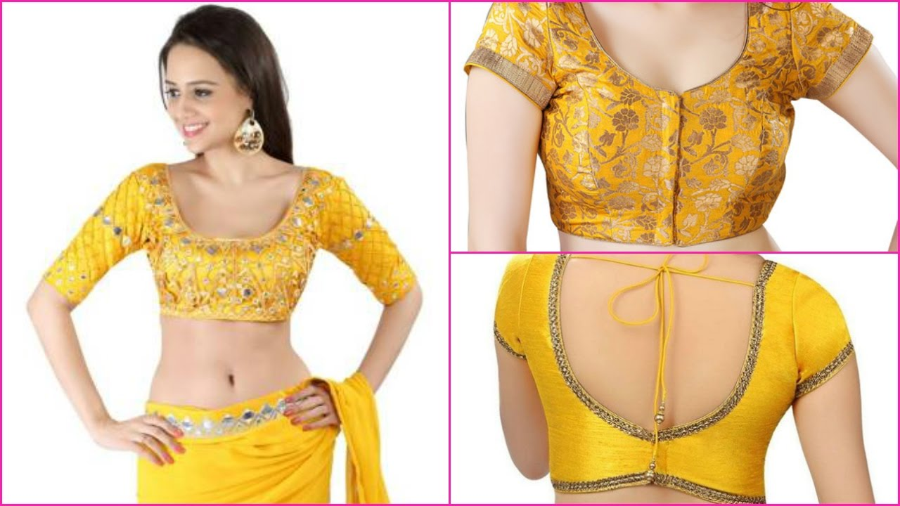latest yellow blouse design patterns 2017
