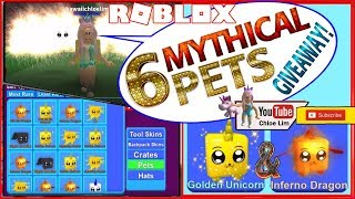 Roblox Mining Simulator! 6 Mythical Pets GIVEAWAY! 3 Golden Unicorn & 3 Inferno Dragon - See Desc!
