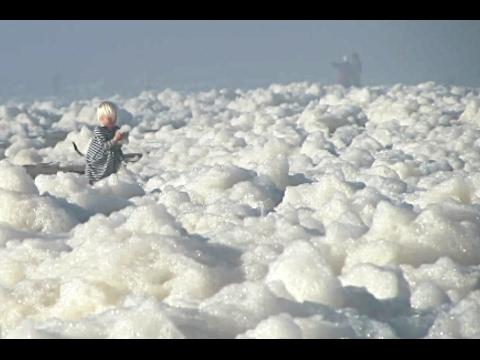 Lots of sea foam at Ocean Beach