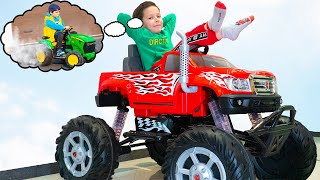 Artem and сhildren vehicles | Plays with toys on power wheels