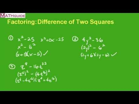 Factoring: Difference of Two Squares - YouTube