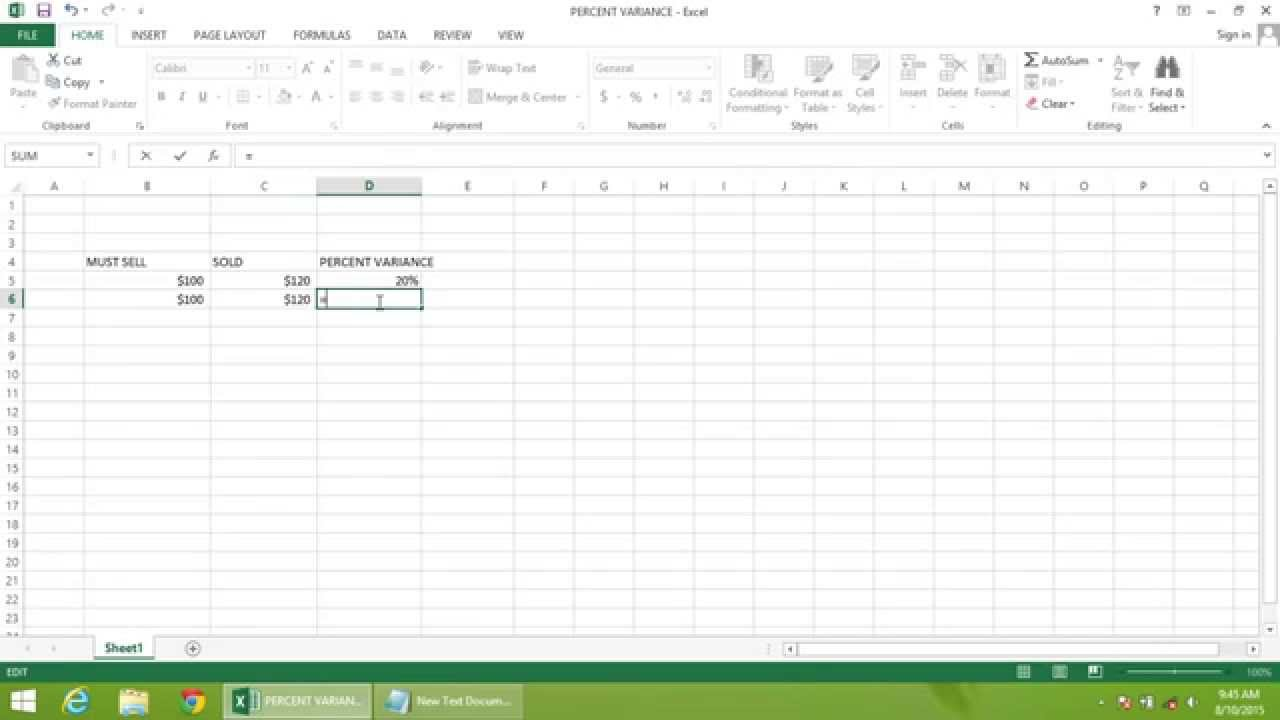 Excel 2013 Tutorial  How To Calculate Percent Variance