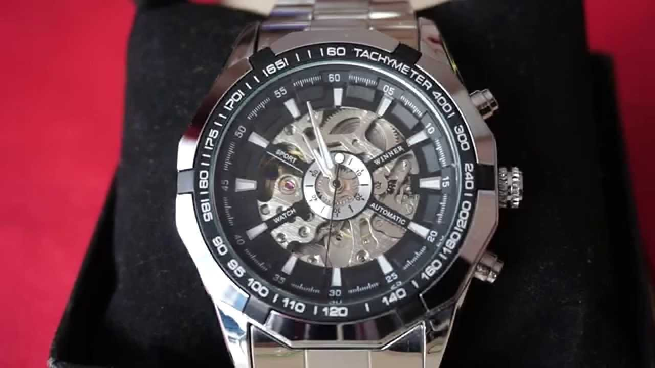 cb240e5f77e winner skeleton automatic mechanical watch - YouTube