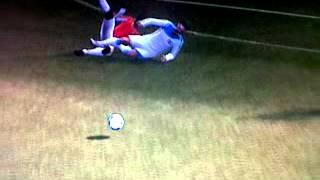 Andy Carroll horror tackle vs Arsenal (no card)