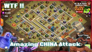 Clash of Clans⭐WTF!! AMAZING CHINA ATTACK BOWIPE & HOG SMASH 3-STAR TH12