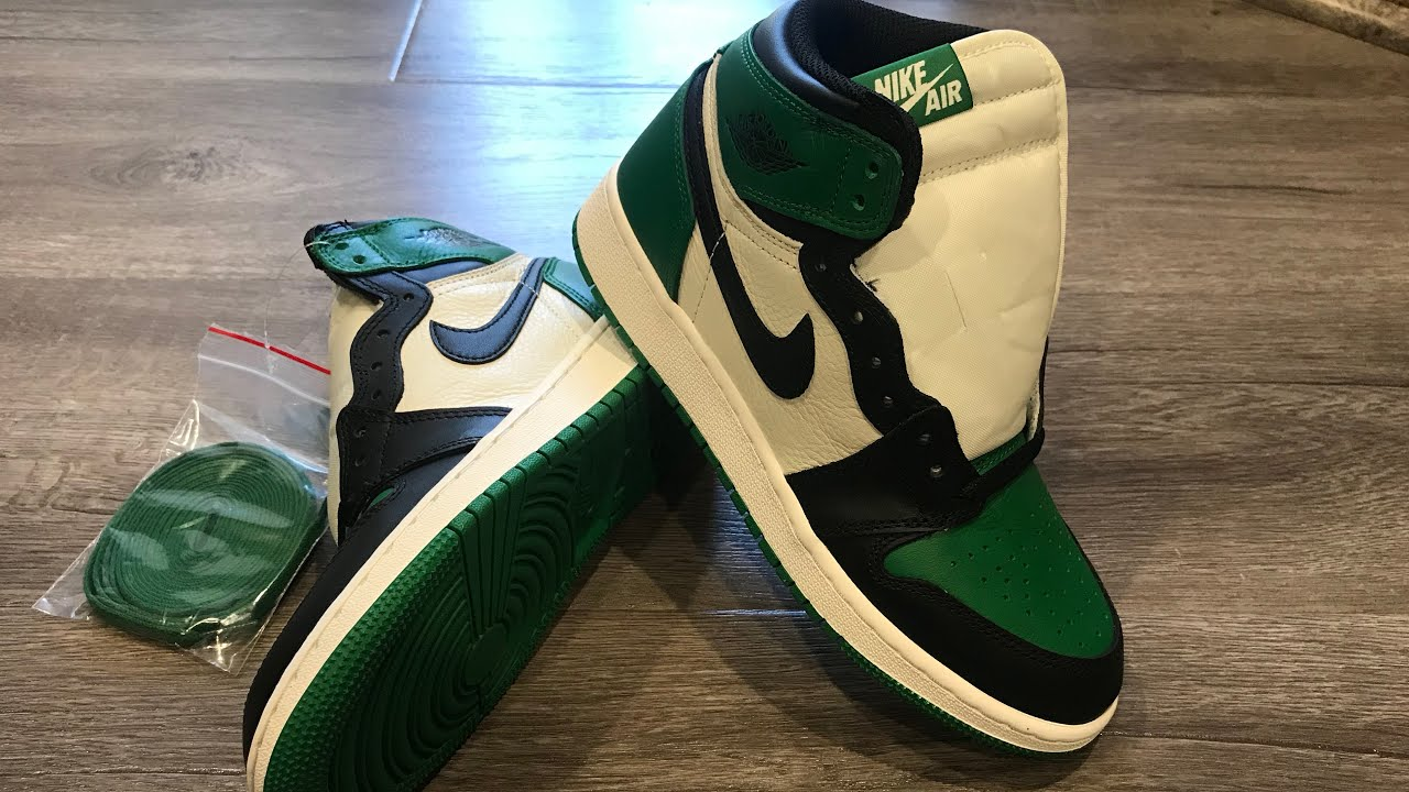 0061b5d09359f7 Jordan 1 Retro High Pine Green GS Unboxing And Review - YouTube