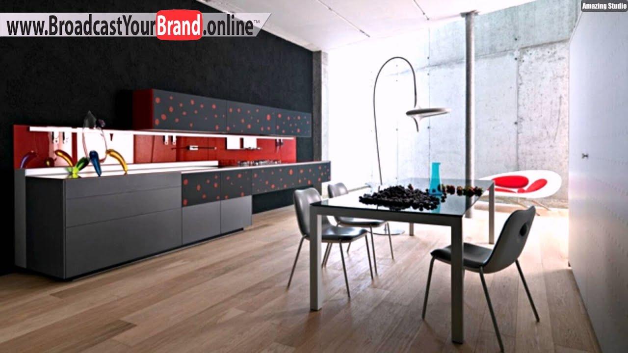 Rot Graue Küche Farben Bodenbelag Stein Holzoptik   YouTube