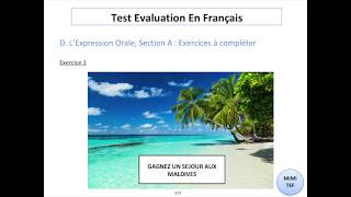 Tef / Tef Canada - Section A, Expression Orale : EXPLICATIONS & EXERCICES