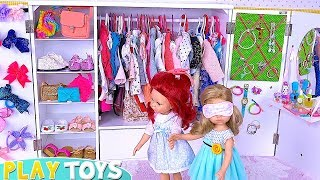 Baby Doll Twins Dress up, Makeup Toys in Mom's Bedroom!
