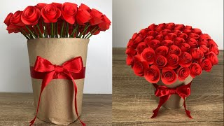 ช่อดอกกุหลาบกระดาษ วาเลนไทน์ แบบง่ายๆ | Rose paper | แม่ริน School bus kids