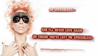 Lady Gaga - Speechless (Karaoke/Instrumental)