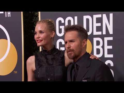 Sam Rockwell & Leslie Bibb Golden Globe Awards Fashion Arrivals 2018