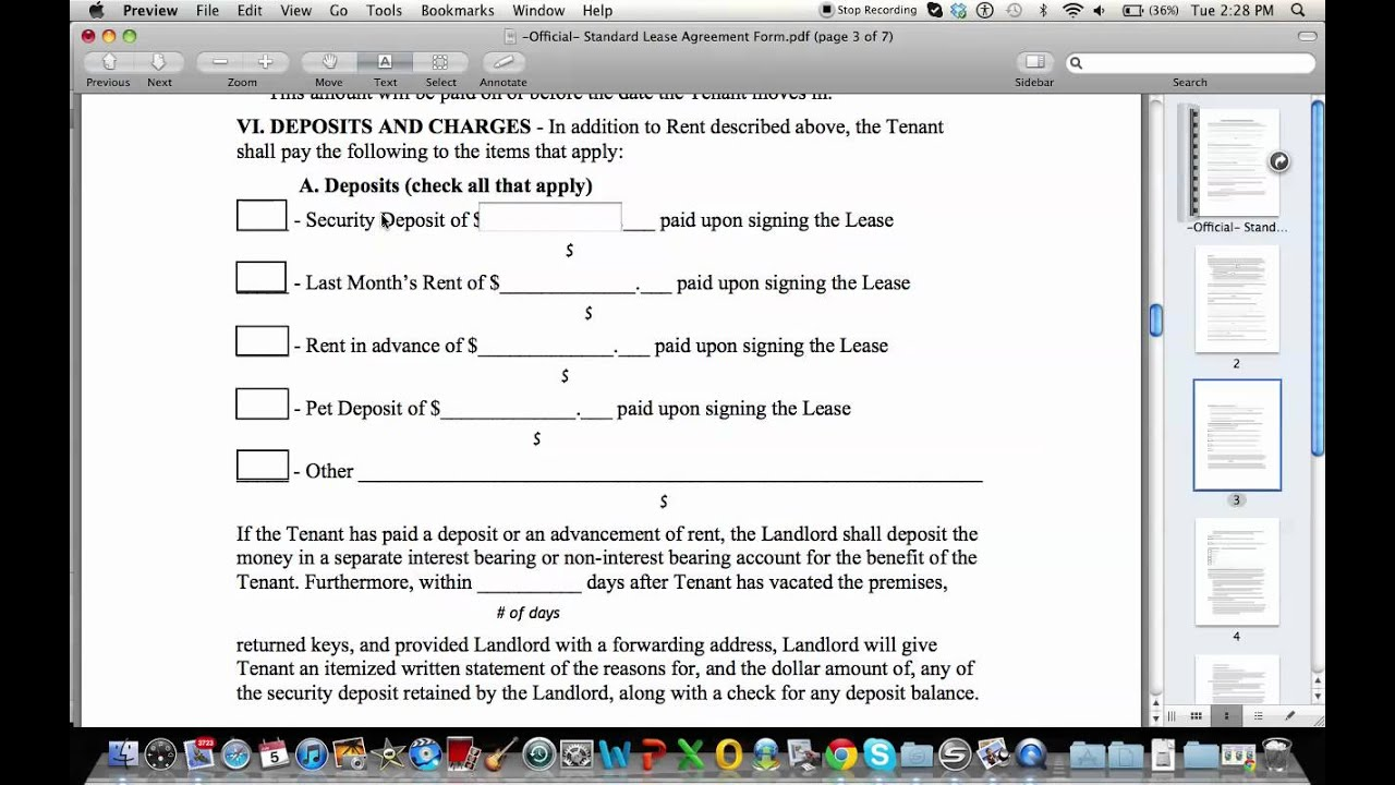 How To Fill Out A Standard Lease Agreement Youtube