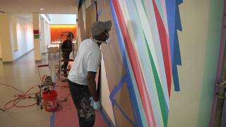 Odita discusses his mural,