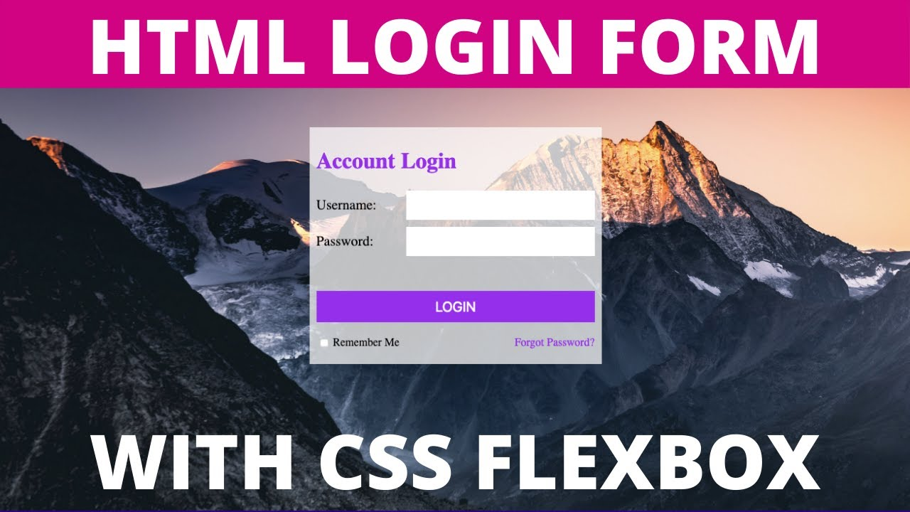 HTML Login Form Design Styling (with CSS Flexbox) Tutorial 2021