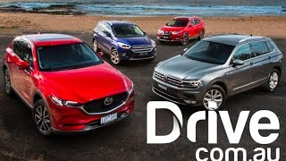 2017 Mazda CX-5 v VW Tiguan v Nissan X-Trail v Ford Escape Comparison | Drive.com.au