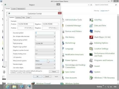 Windows 8.0 Professional - Change The Type Of Calendar Windows Uses