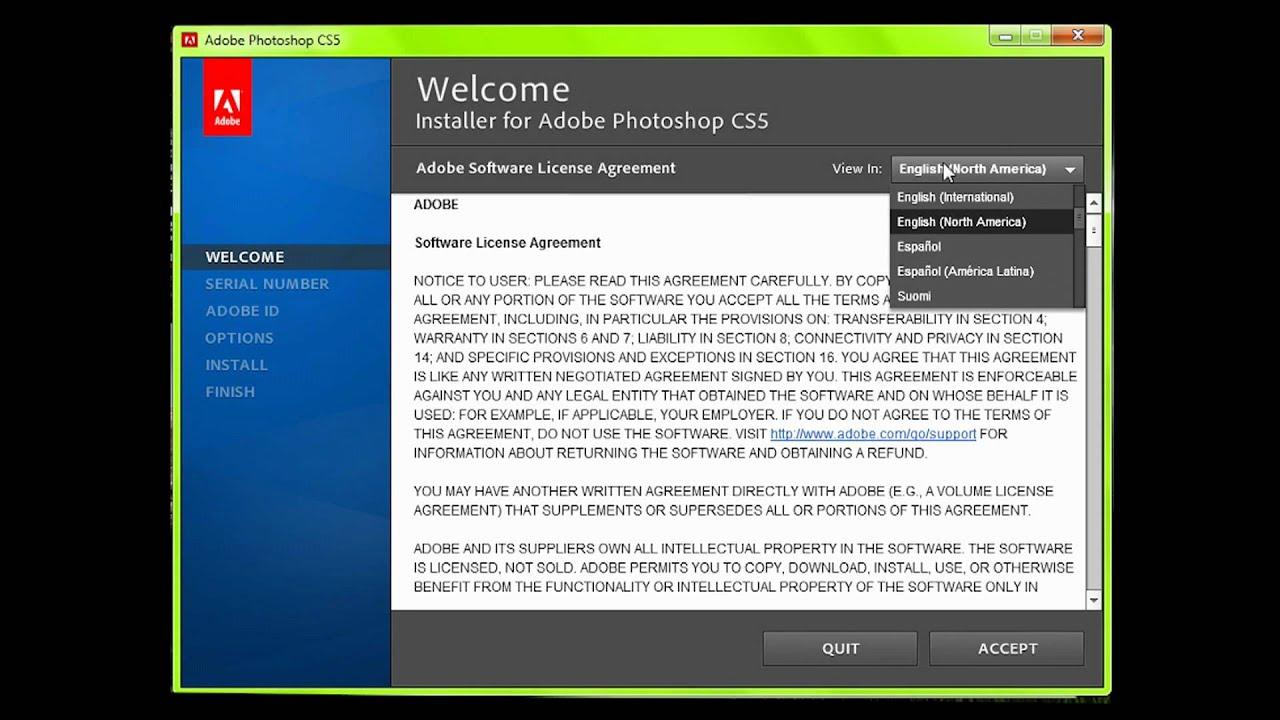 adobe cs5 photoshop install