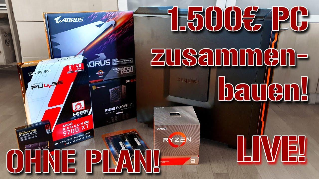 LIVE! | 1.500€ Gaming-PC zusammenbauen - OHNE PLAN!
