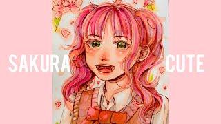 Cherry Blossom 可愛い桜をイメージした女の子を描いてみた!Ohuhu Markers