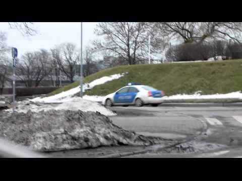 Estonian police car responding in Tallinn