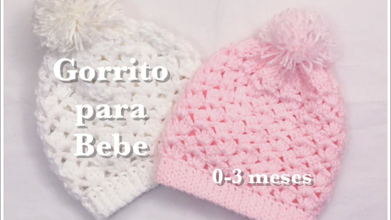 4ed9a7fe4b186 Gorro para bebe de 0-3 meses en gancho facil y rapido  88 - YouTube
