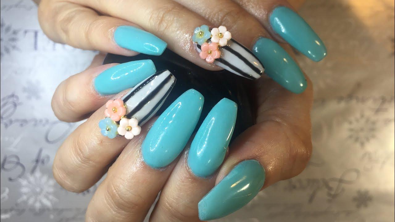 Uñas Acrílicas Vintage Con Flores Acrylics Nails