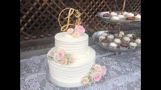 Easy DIY Tiered Wedding Cake - How to Frost - Stack - Decorate