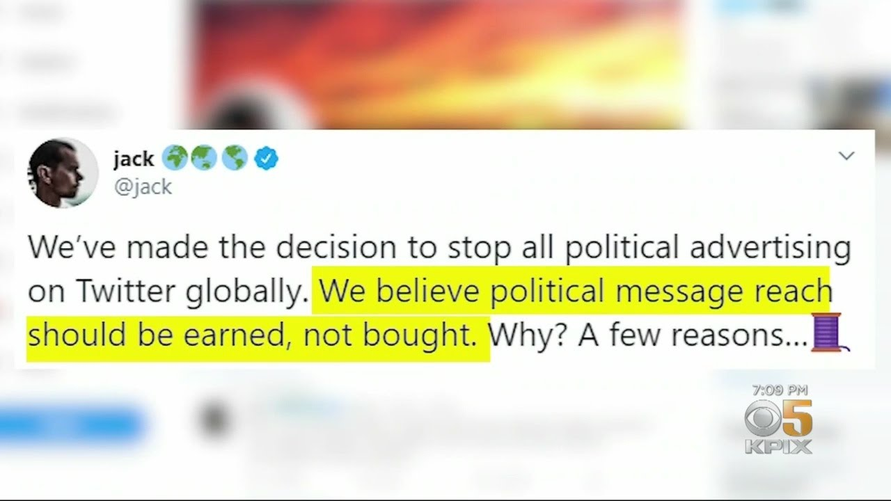Twitter Say's No More Political Ads!!  [VIDEO]