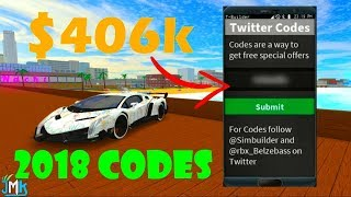 Roblox Vehicle Simulator MONEY CODES 2018 *NEW WORKING CODES* [$406,001]