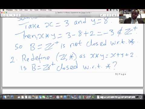 Lecture 6 Section 1.4 Binary Operations