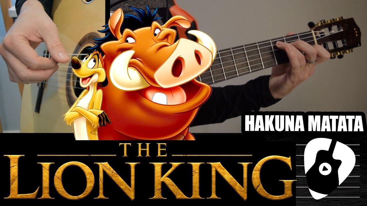 Como tocar Hakuna Matata (canción de El Rey León) en guitarra acústica | Tablaturas TCDG