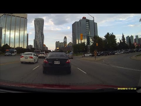 Driving through Mississauga Ontario from Highway 407 to Highway 427