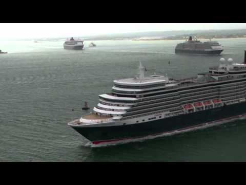 Cunard's Three Queens Depart Southampton Together