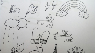 How to draw cute and easy weather doodles|Simple,easy doodle weather icons|Cute weather icon doodles