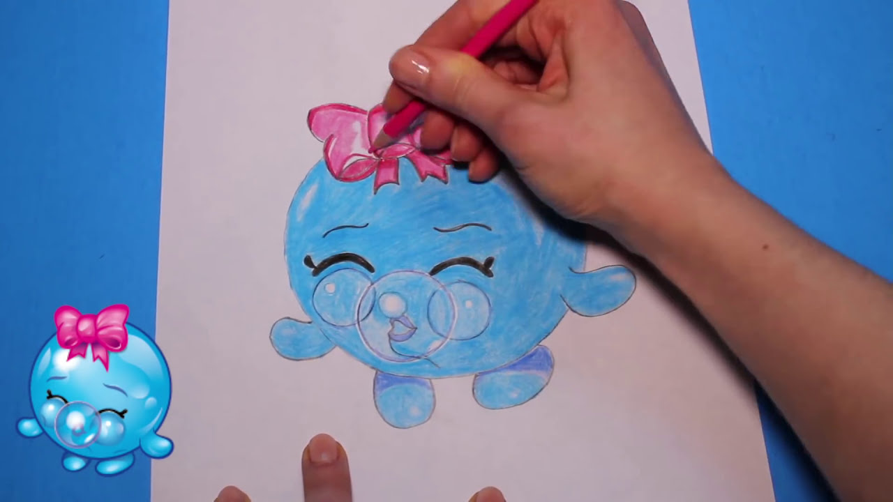 "How to Draw Shopkins Season 1 ""Bubbles"" Step By Step Easy Toy Caboodle YouTube"