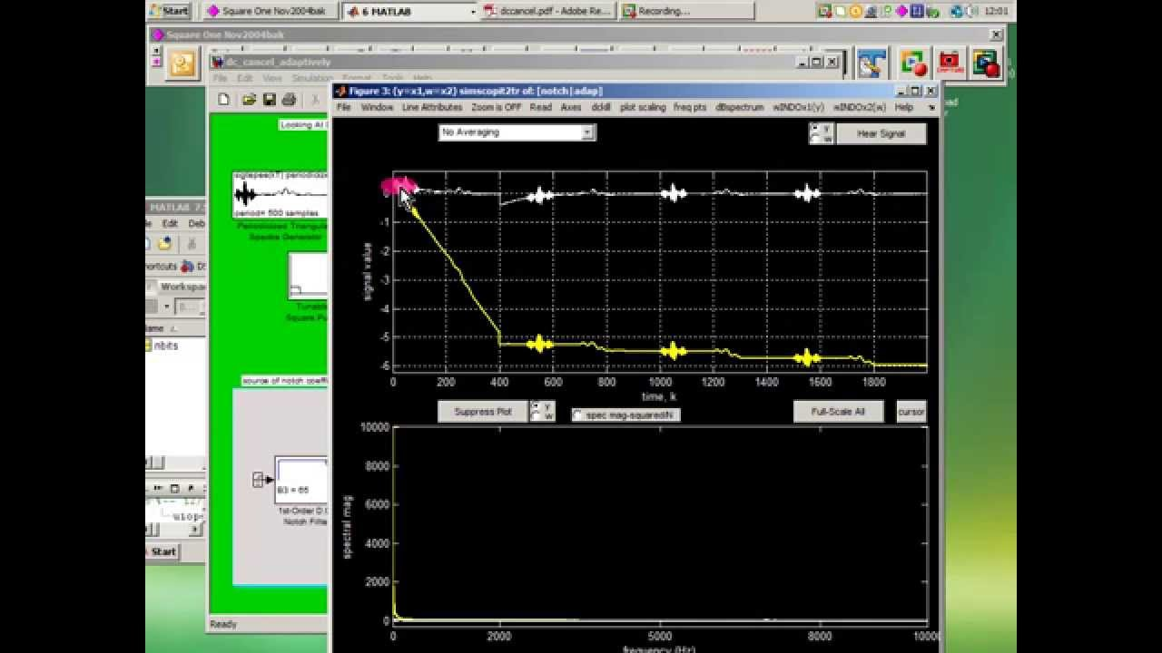 Killing D C: Adaptive Cancellation vs Notch Filtering