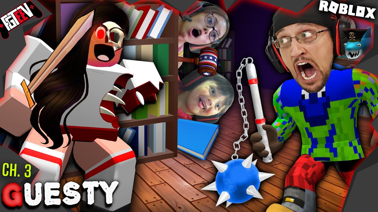 ROBLOX GUESTY: FGTeeV vs. Scary Librarian! Escaping Chapter 3 w/ Lex & Shawn
