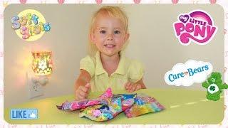 Распаковка Сюрпризы пакетики игрушки Май Литл Пони My Little Pony, Care Bears, Soft Spots Blind Bags