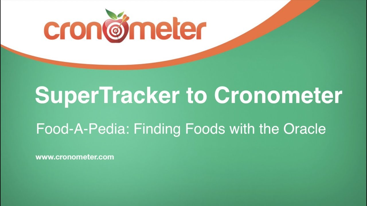 Supertrackers Food A Pedia Meets Cronometers Oracle Youtube