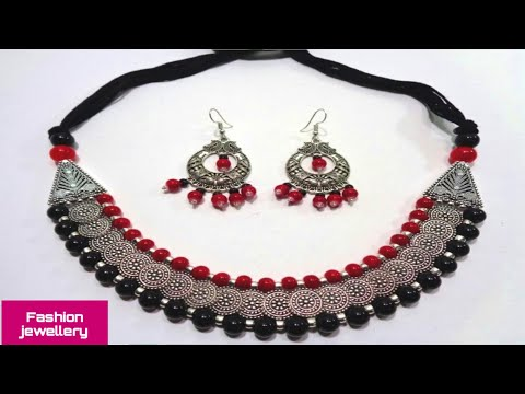 How to Make Glass Beads German Silver Necklace //DIY Fashion Jewellery Making at Home in Simple Way