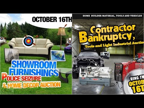 October 16th Police Seizure, Fine Furnishings & Construction Bankruptcy Auction Edmonton