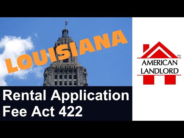 Louisiana Rental Application Fee Law | American Landlord