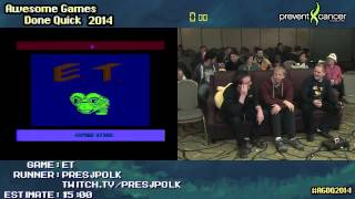 E.T. [Atari 2600]  :: SPEED RUN Live (02:05) by Presjpolk #AGDQ 2014