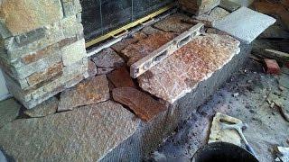 Stone Veneer Installation On Fireplace