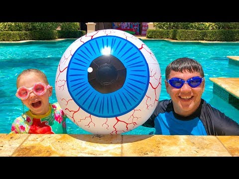 Swimming song - Stacy and dad are taught to swim