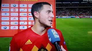 Belgique-Suisse 2-1 interview Eden Hazard 11-10-2018 😂 panneau tombe sur journaliste